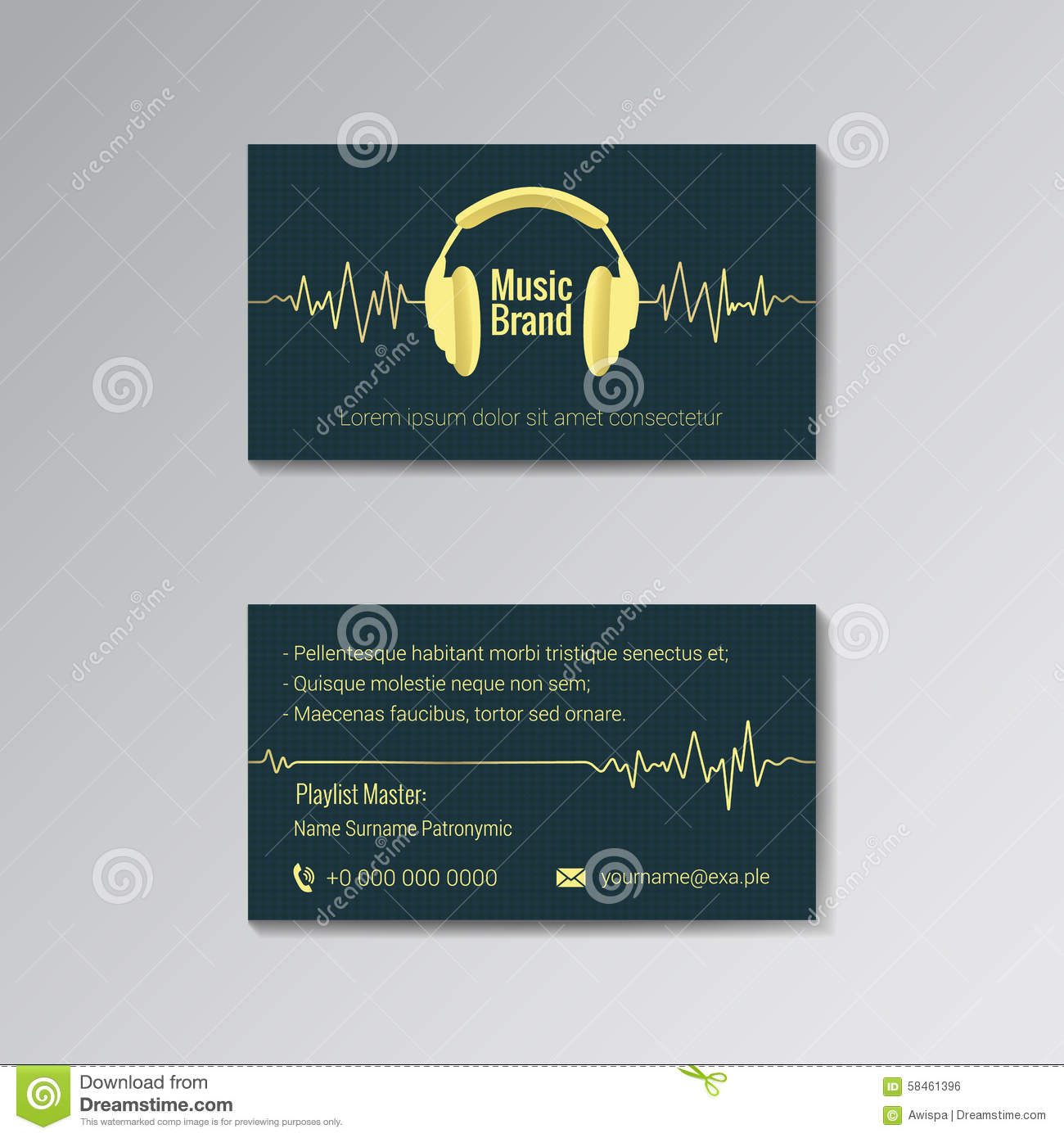 Music business card stock illustration illustration of card 14818669 business card template for music brand royalty free stock image wajeb Gallery