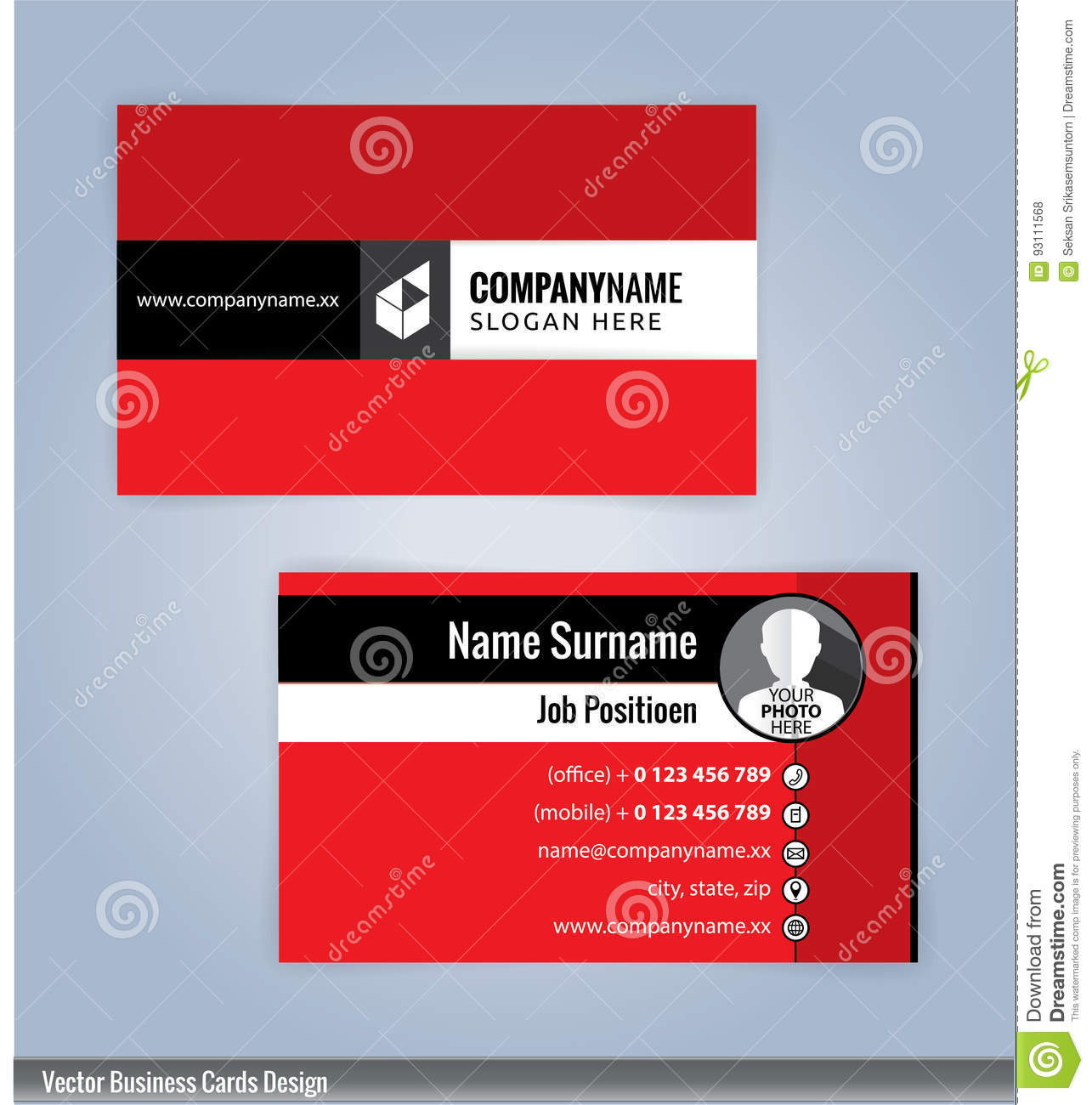 business card template red background stock vector illustration