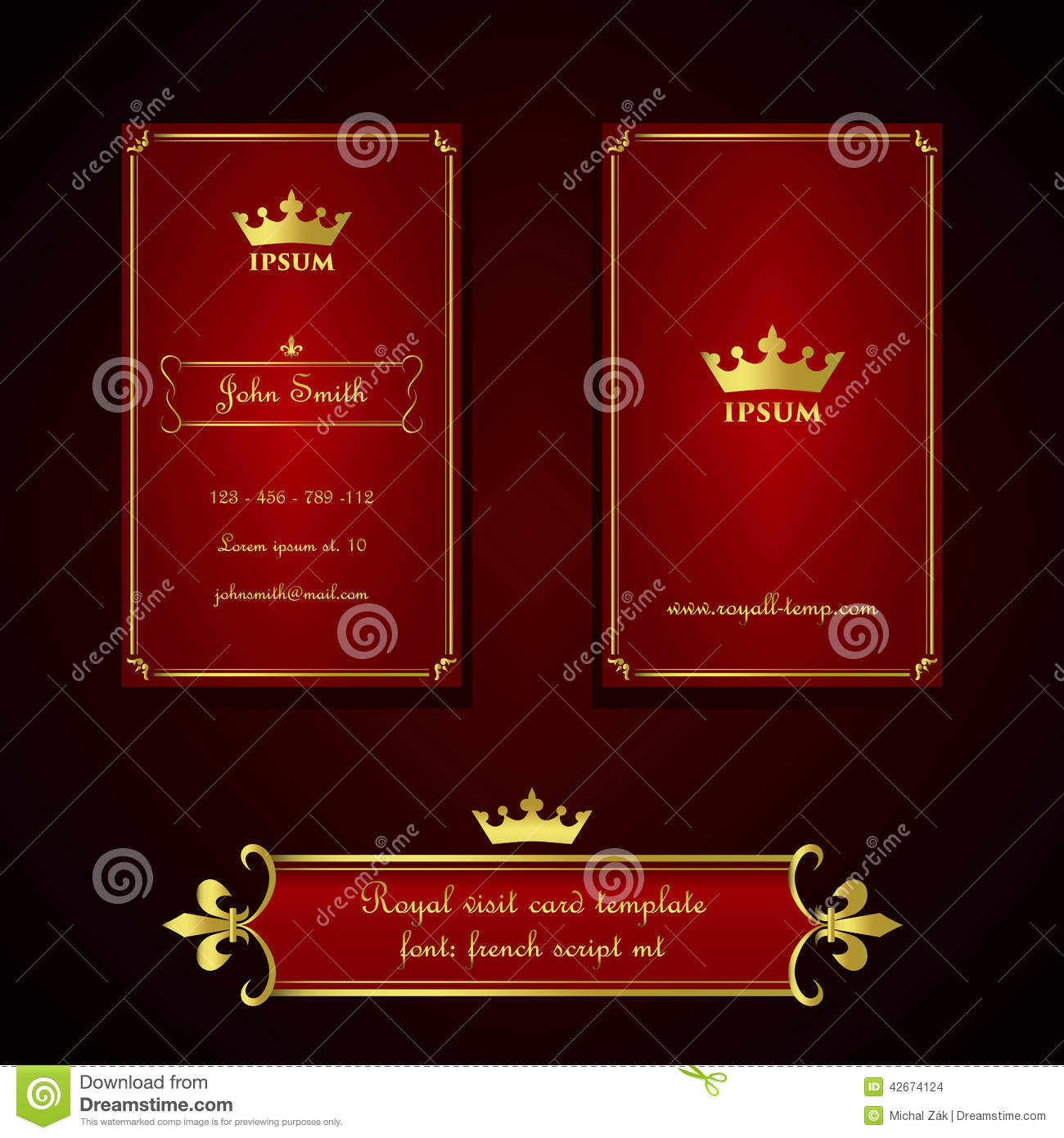 Fleur de lis business cards gallery free business cards fleur de lis card holder magicingreecefo business card template in royal red and gold style stock vector royalty free vector download business magicingreecefo Gallery