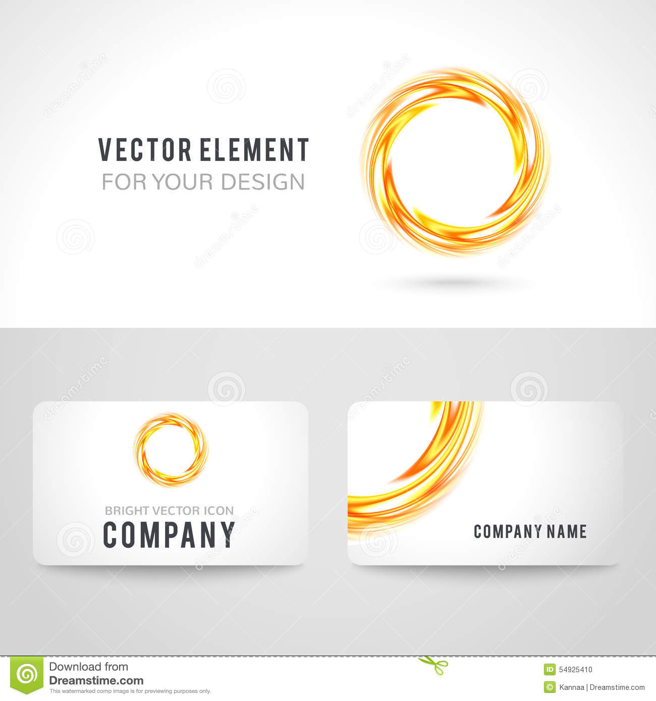 Business card template set abstract orange circle stock for Business card background vector