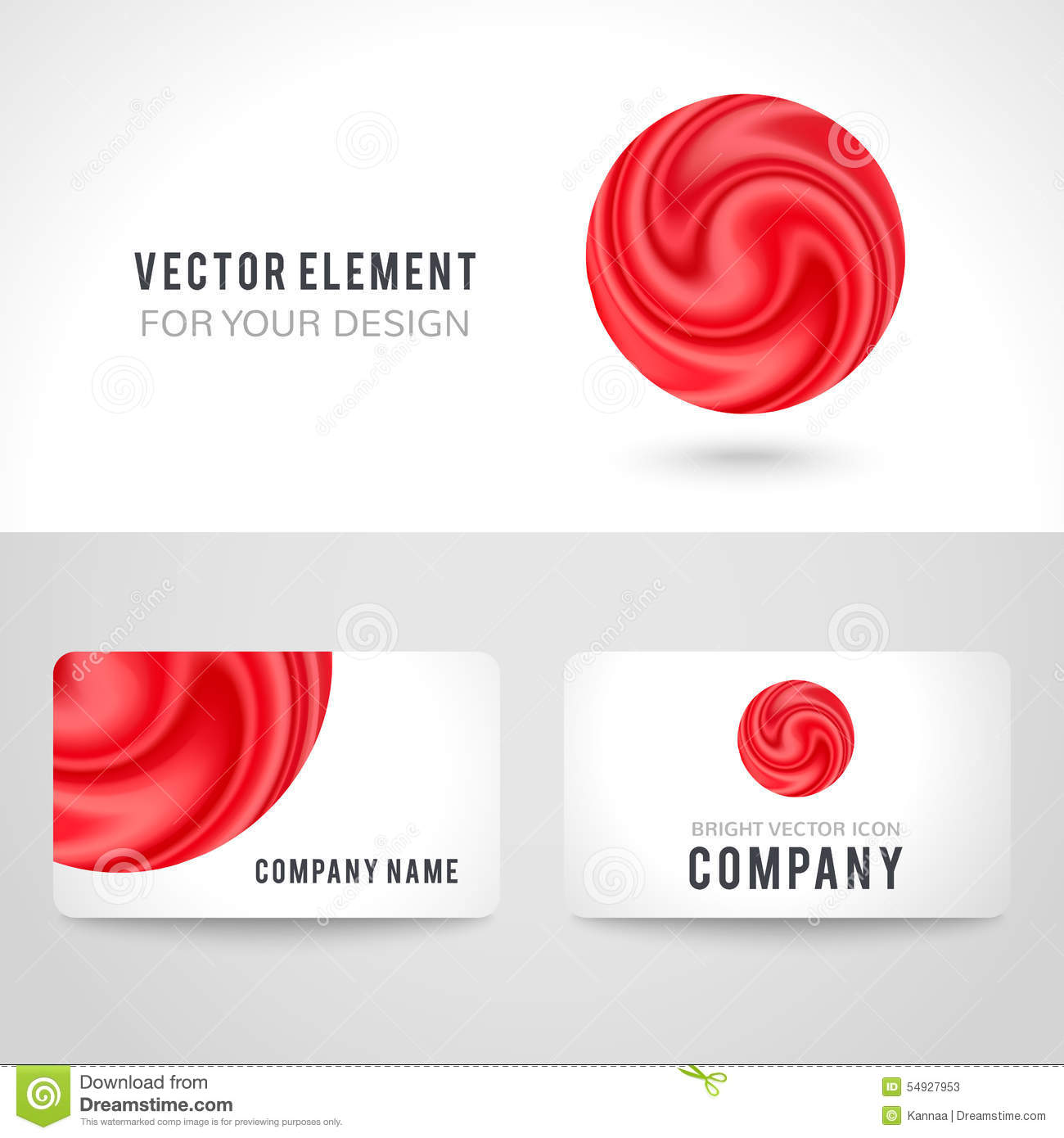 Business Card Template Set Abstract Red Circle Stock Vector - Round business card template