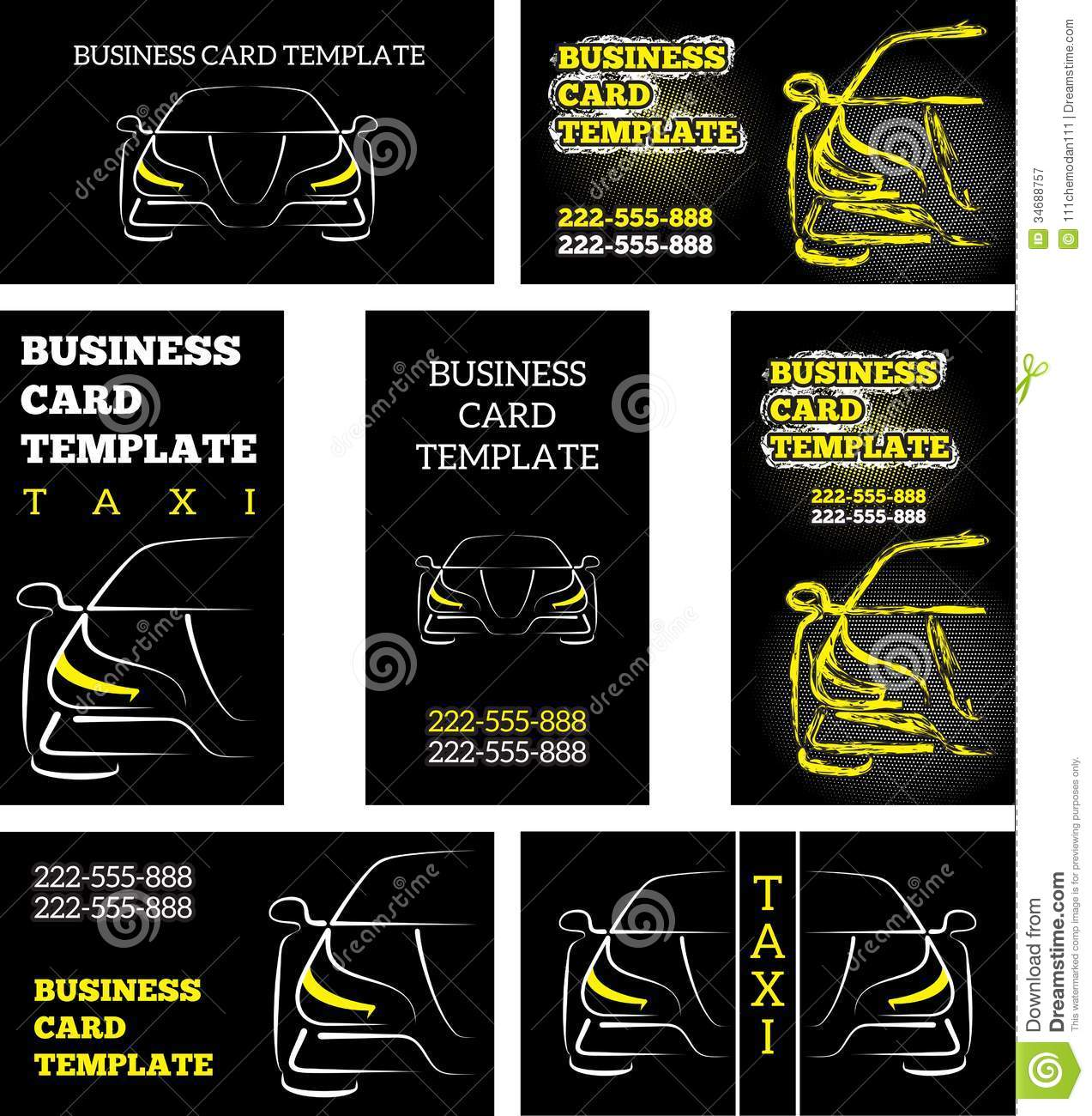 Business Card Template Taxi Stock Vector Illustration Of Bumper - Mechanic business cards templates free