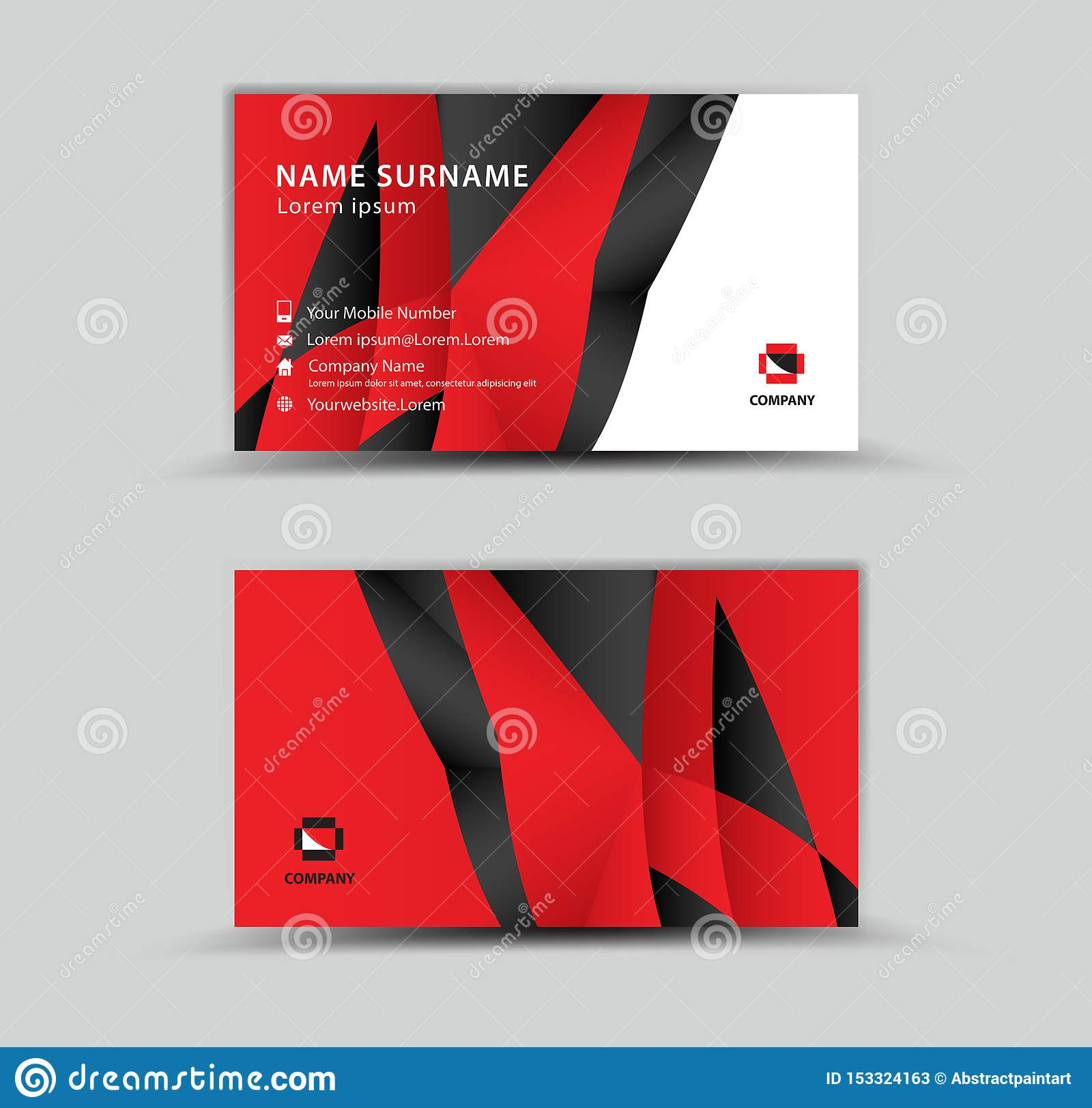 Business Card Vector template, Creative idea modern concept, red polygon background