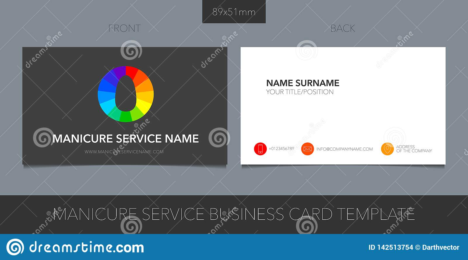 Business card template vector layout for nails business