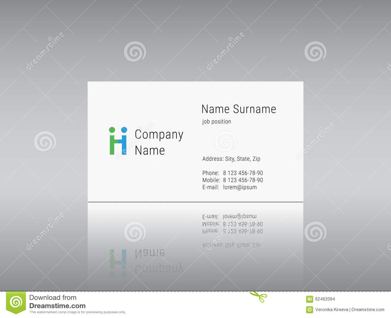Business Card Template With Vector Logo Alphabet Letter H Stock
