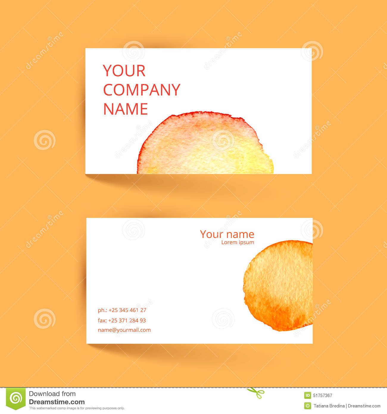 Business Card Template Vector Watercolor Orange Stock Vector