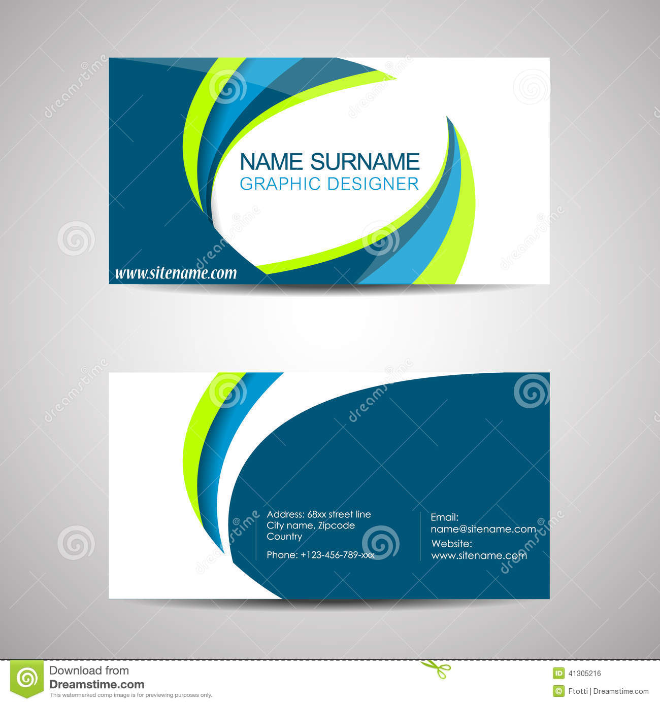 Business Card Template Or Visiting Card Stock Vector - Illustration ...