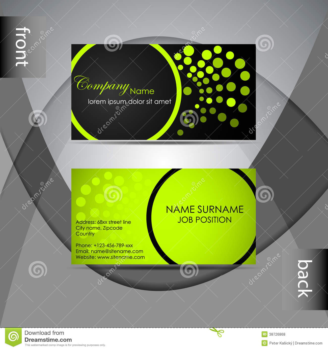 Business Card Template Or Visiting Card Set Stock Vector - Image ...