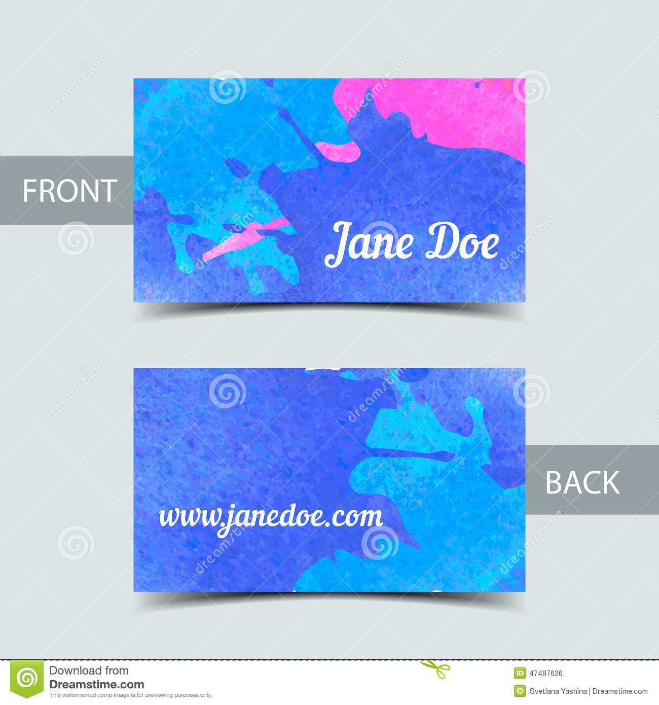 Business Card Template For Watrcolor Illustrator Stock Vector ...
