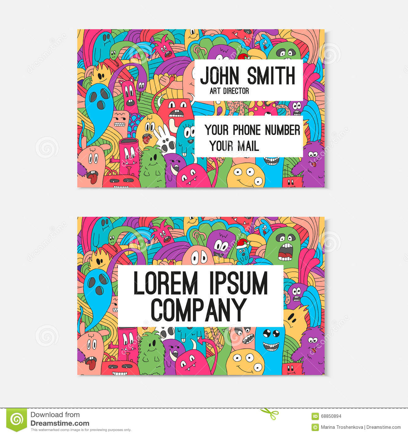 Business card template whit funny doodle monsters corporate download business card template whit funny doodle monsters corporate identity stock vector illustration wajeb Image collections