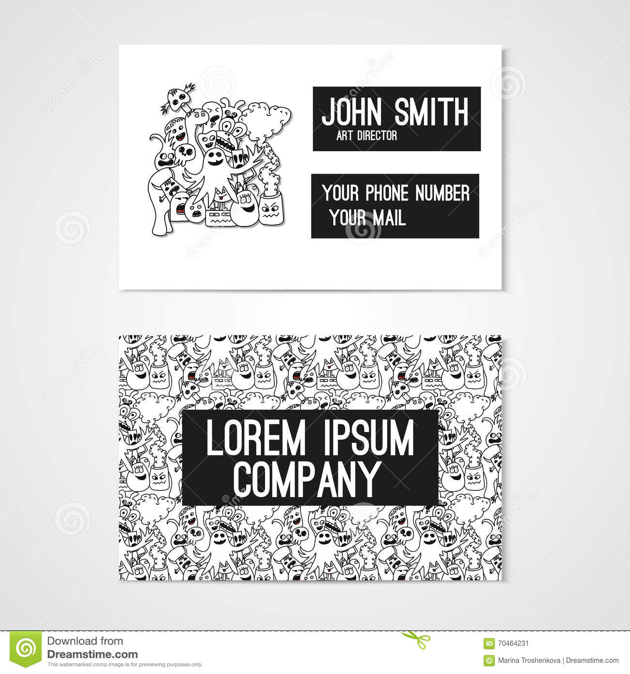 Business card template whit funny doodle monstes stock vector download business card template whit funny doodle monstes stock vector illustration of alien wajeb Gallery