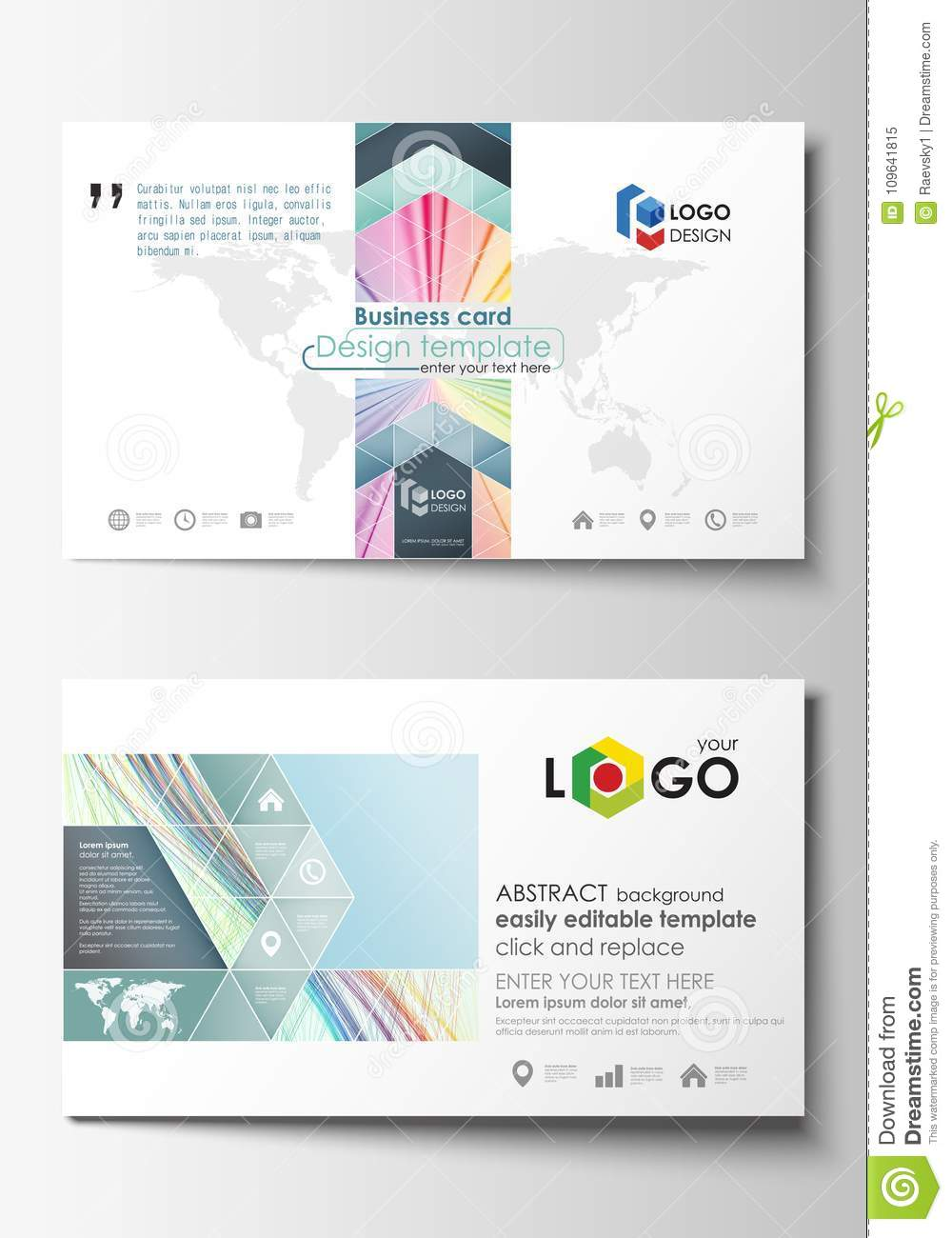 Business card templates cover template easy editable vector flat business card templates cover template easy editable vector flat style layout colorful background with abstract reheart Gallery