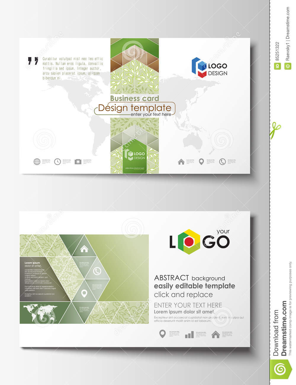 Business card templates easy editable layout abstract flat design business card templates easy editable layout abstract flat design vector template green color wajeb Images