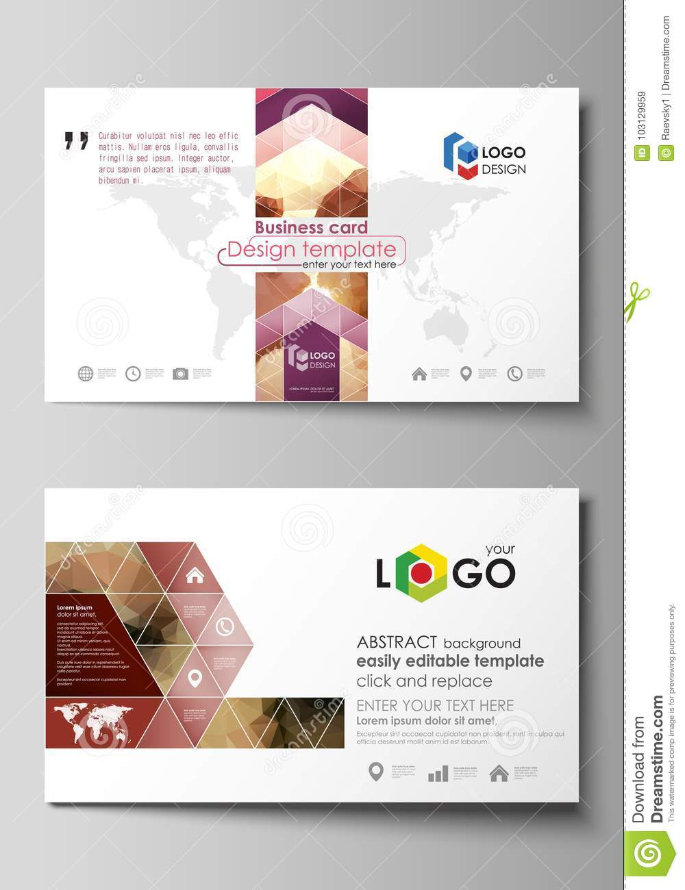 Business Card Templates Easy Editable Layout Abstract Vector - Beautiful business card templates