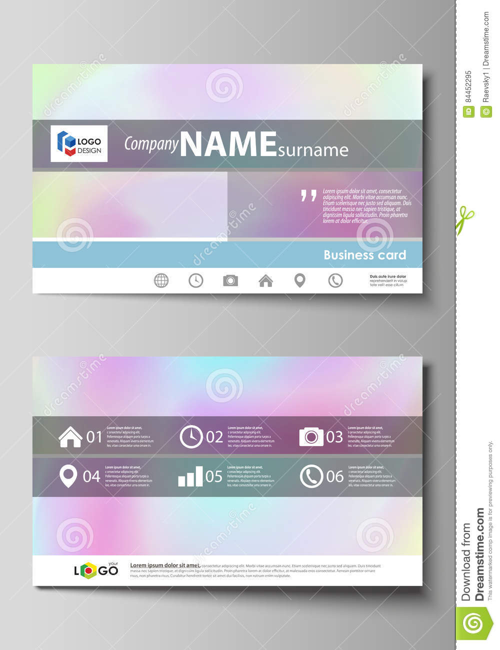 Business card templates easy editable layout abstract vector business card templates easy editable layout abstract vector design template hologram background in pastel colors magicingreecefo Image collections