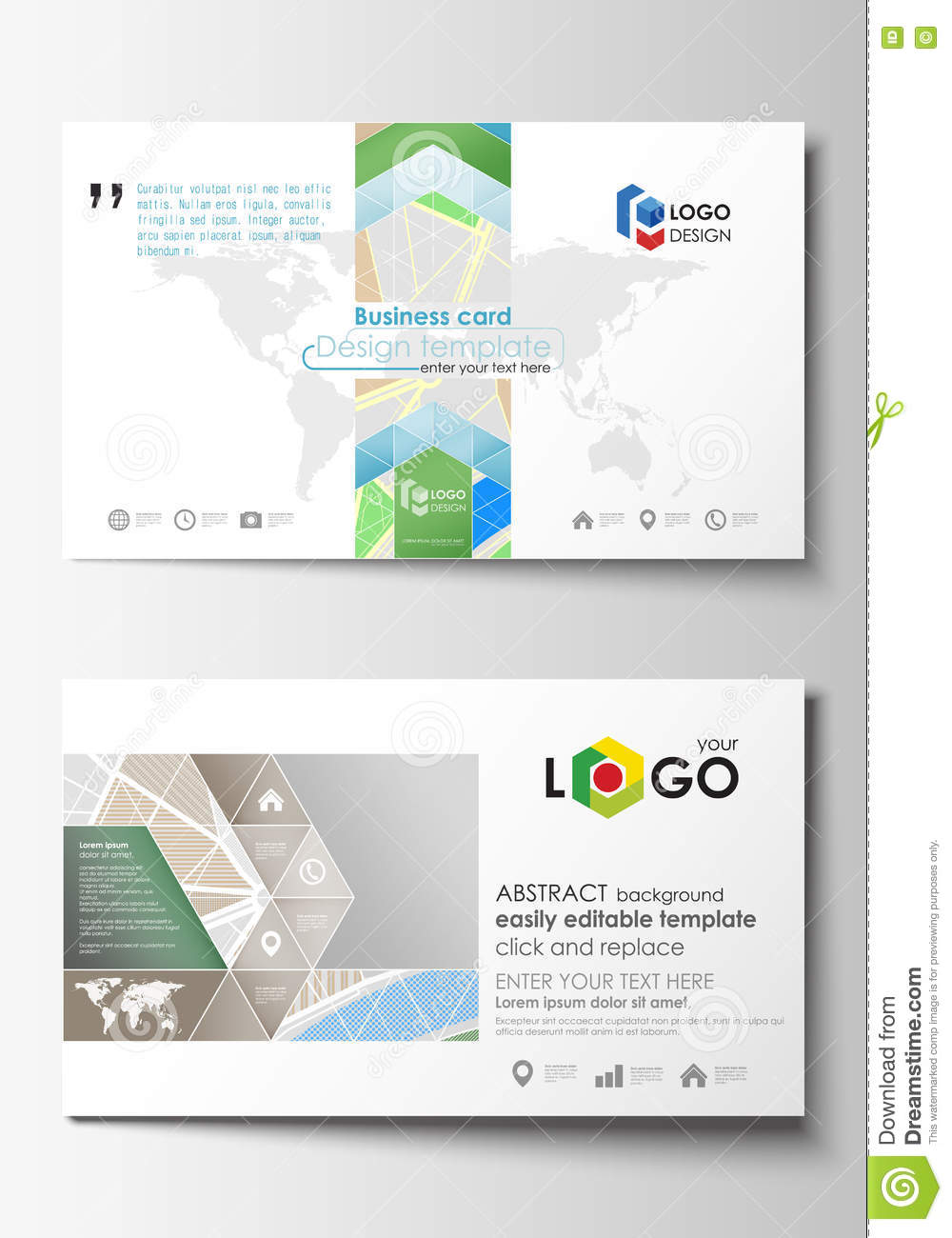 Business Card Templates. Easy Editable Layout. City Map With ...