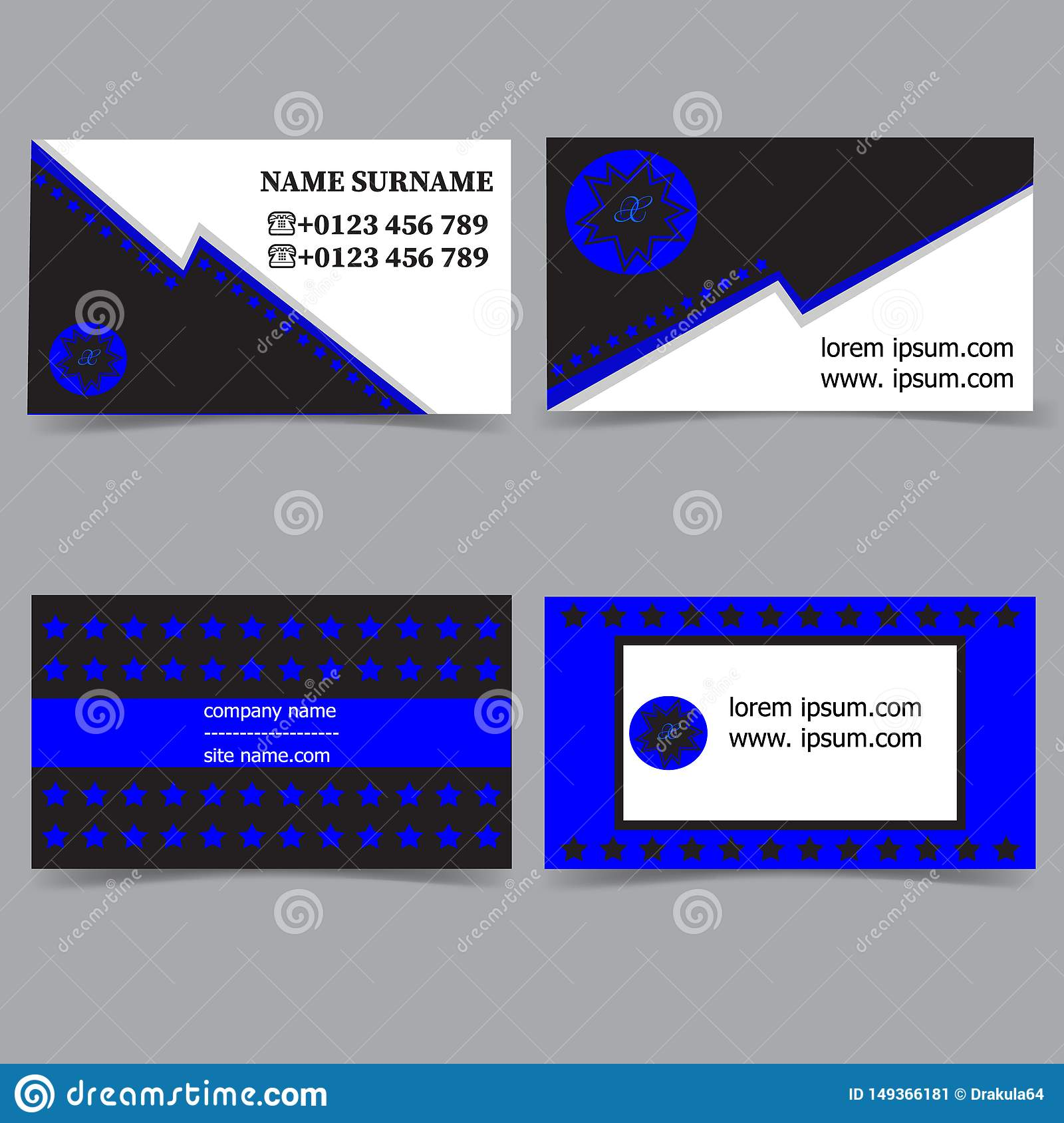 Business card templates. Stationery design vector set. Blue, white and black colors. Flat style vector illustration