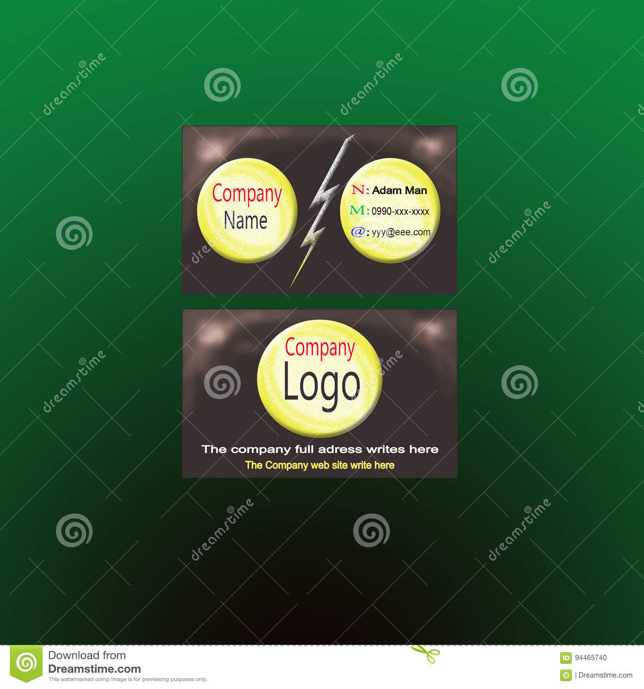 Business Card Three Circle Stock Vector Illustration Of Information