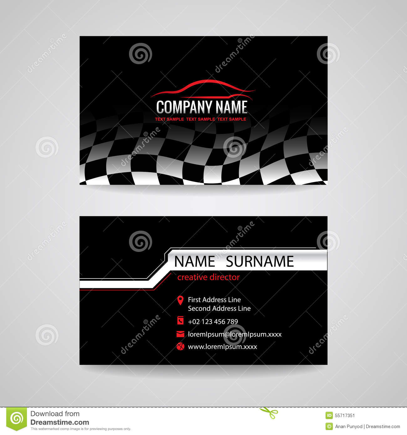 Business Card For Transportation Car Racing Sport And Car
