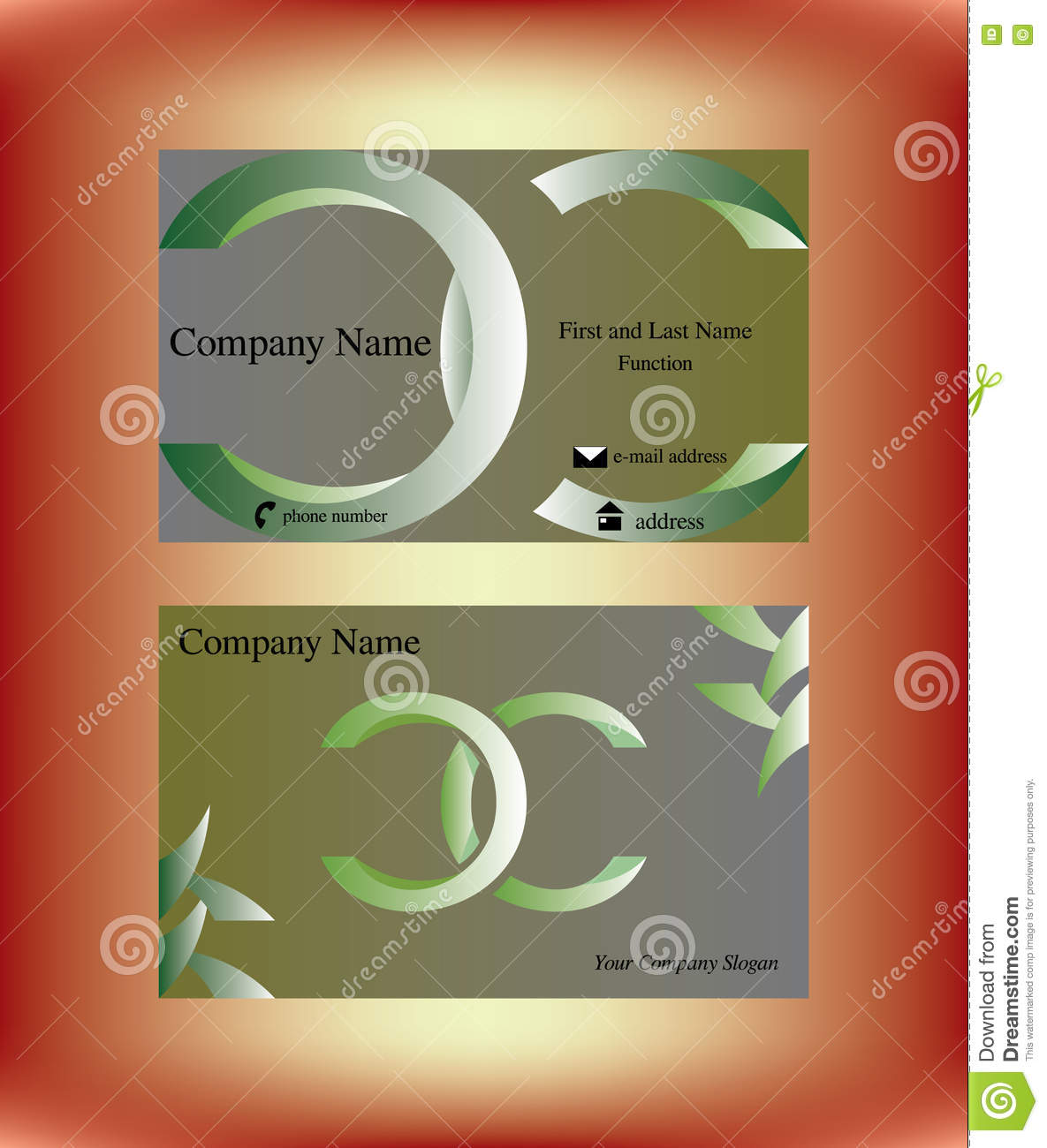 Business Card With Two Green C Letters Stock Vector Illustration