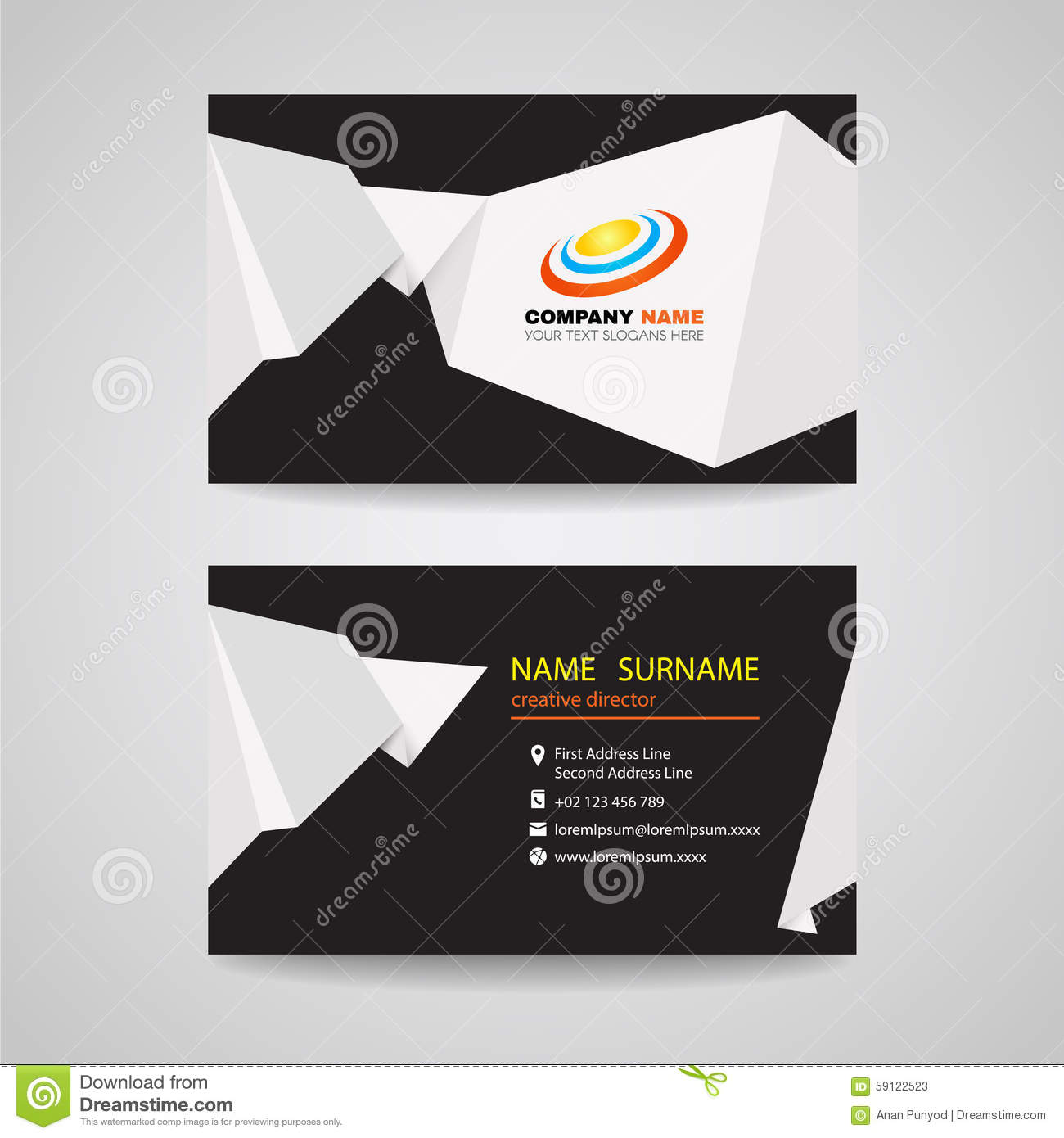 Business card vector design white sharp origami paper on black business card vector design white sharp origami paper on black background jeuxipadfo Gallery
