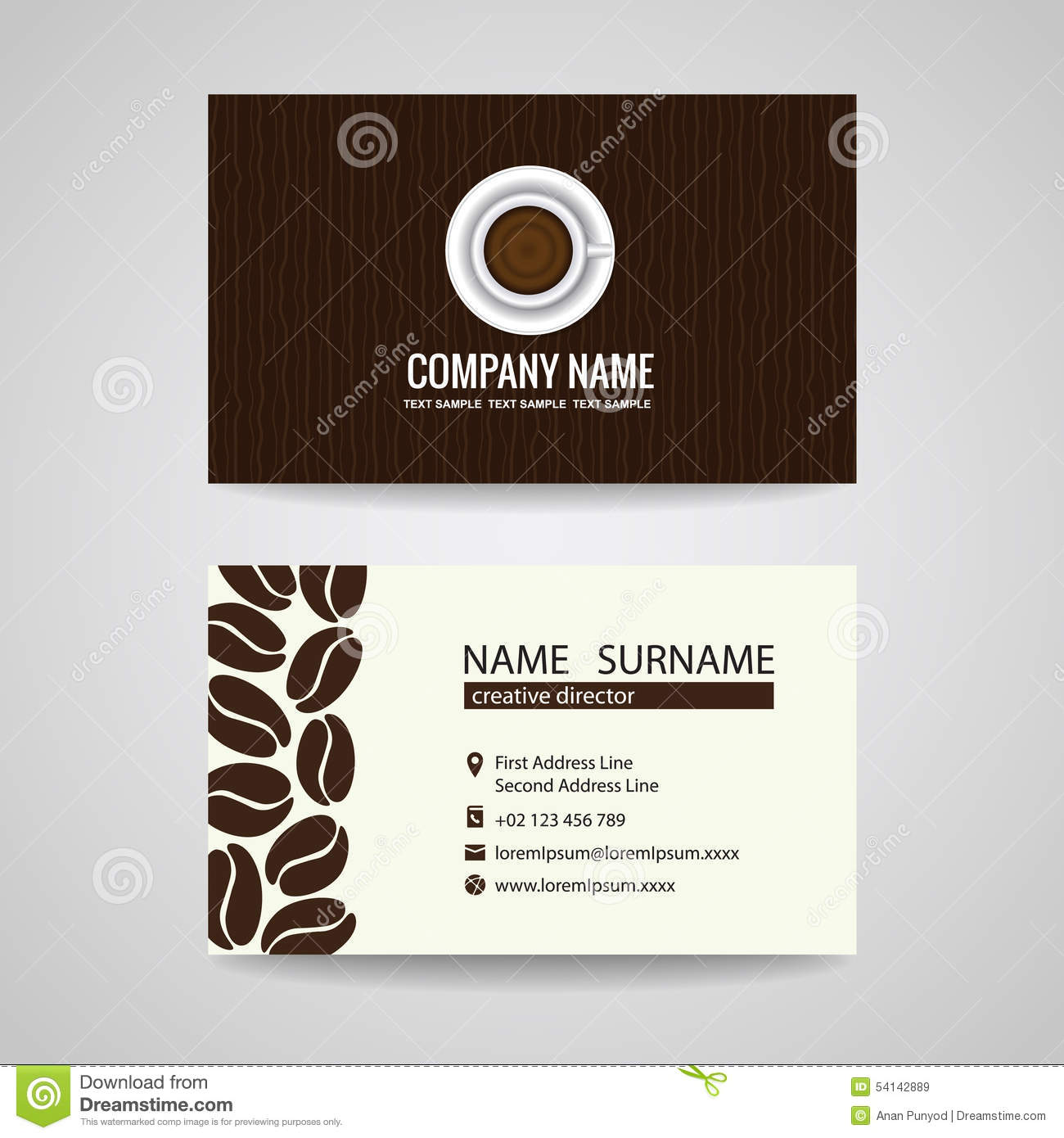 Business card vector graphic design coffee cup and coffee beans business card vector graphic design coffee cup and coffee beans flashek Gallery