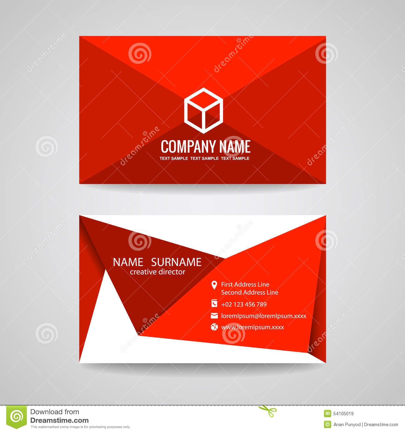 Business card vector graphic design red triangle fold and box logo business card vector graphic design red triangle fold and box logo reheart Images