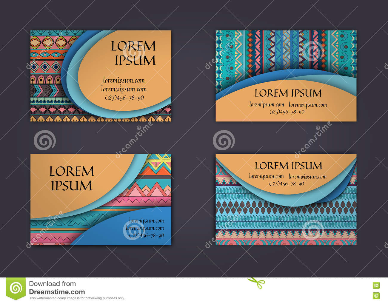 business card or visiting card template with boho style pattern