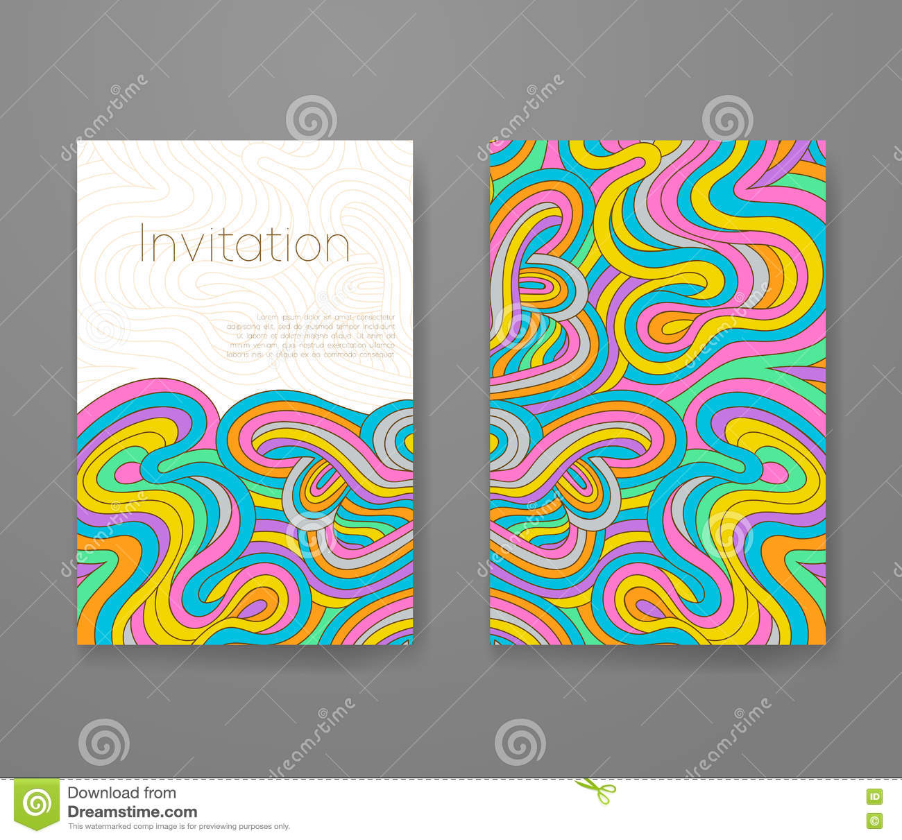 Business Card With Vivid Lines Pattern. Psychedelic Vector Frame ...