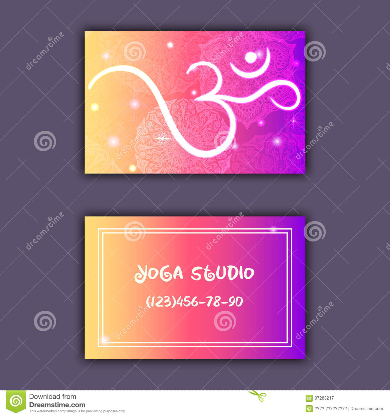 Business card for yoga studio or yoga instructor ethnic background download business card for yoga studio or yoga instructor ethnic background with mandala ornament and reheart Images