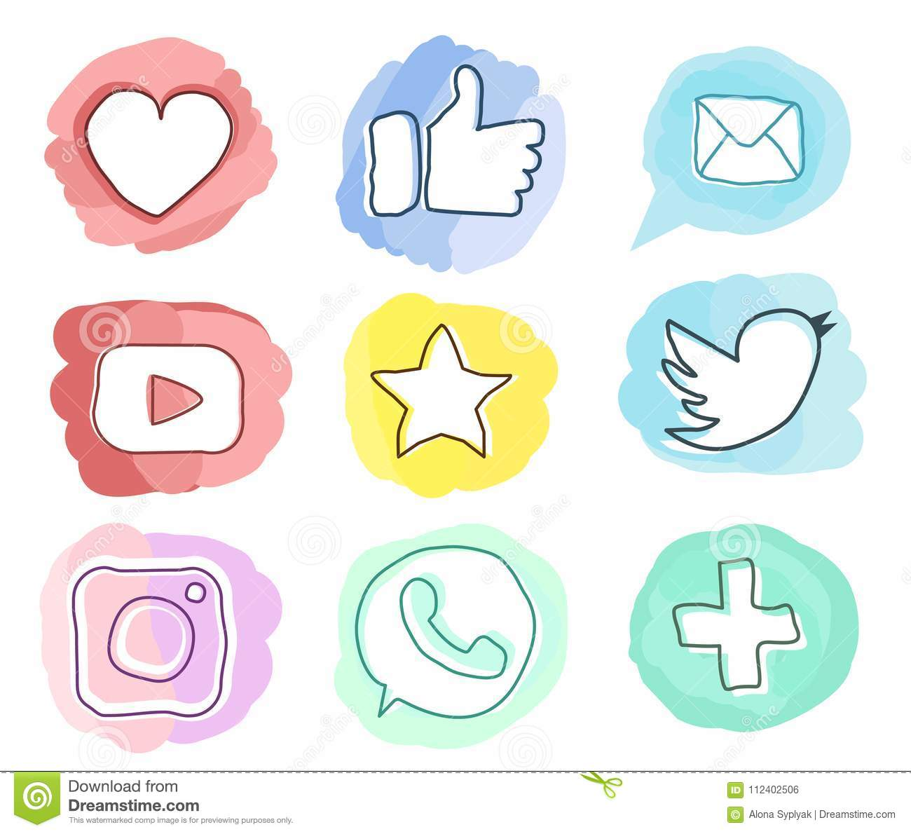 set of social media iconstrendy style watercolor doodle vector in pastel colors - Social Media Icons For Business Cards
