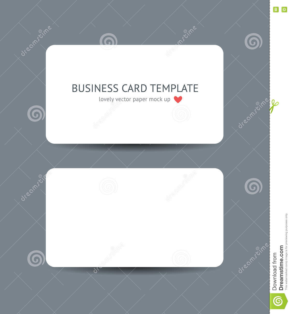 Business cards blank mockup template stock vector illustration of two business cards with round corners template mockup on dark gray background realistic vector white paper card mock up for graphic designers presentations reheart Image collections