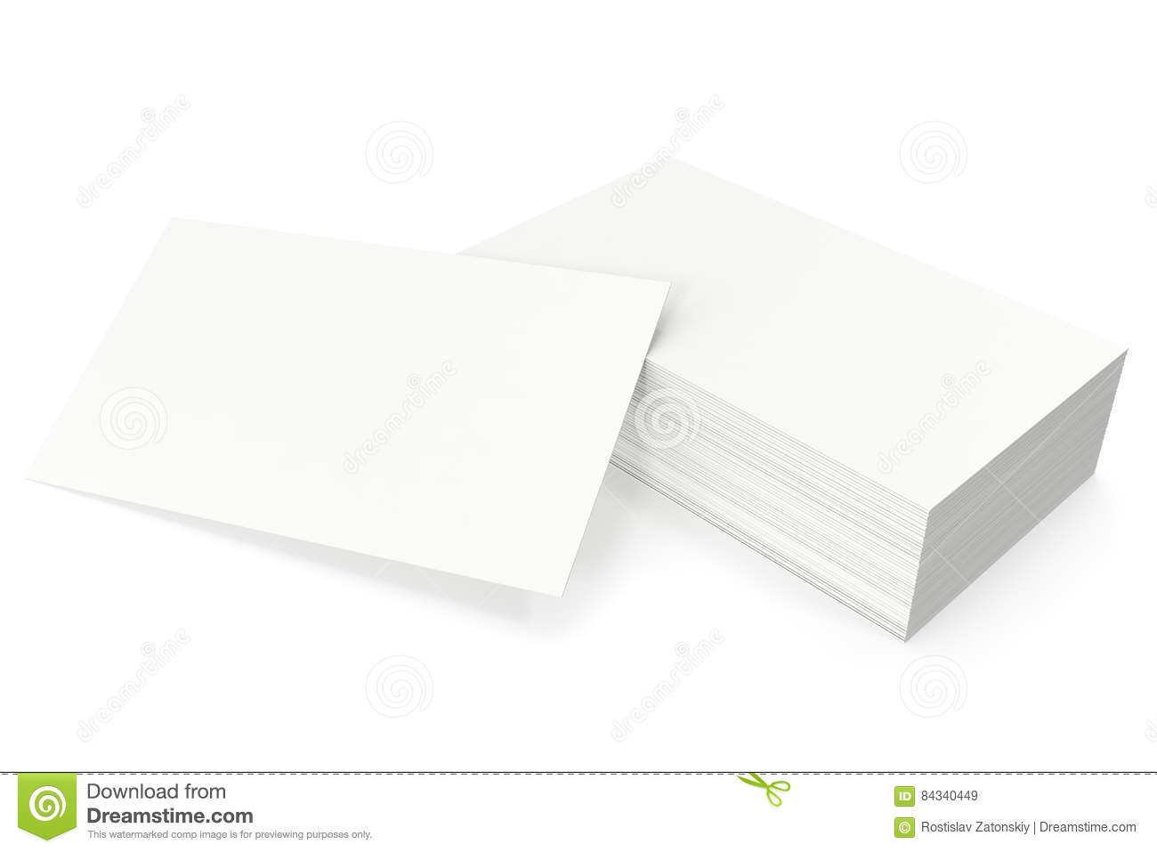 Business Cards Blank Mockup Template On White Background 3d