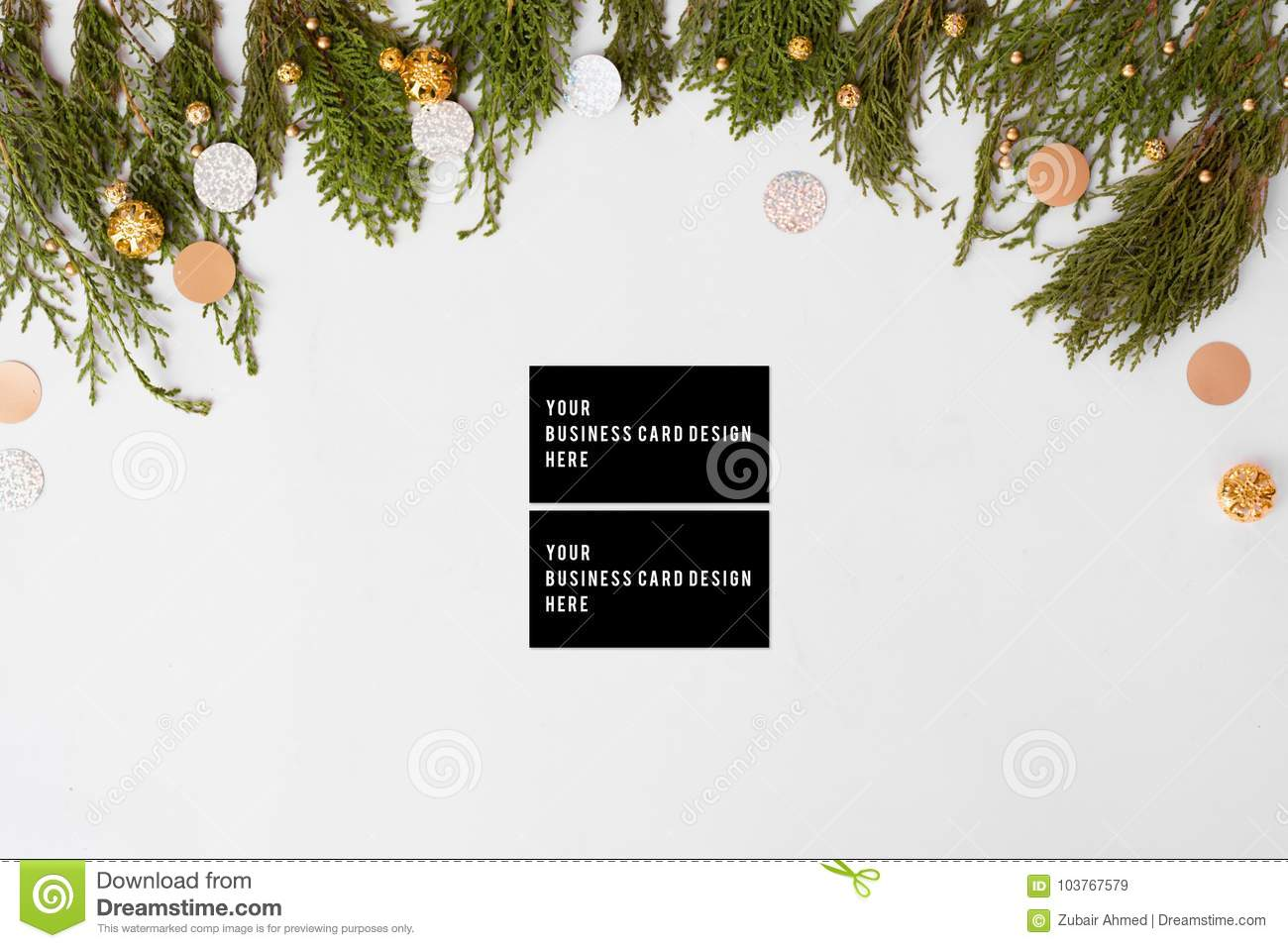 Business Cards Christmas Composition. Fir Branches And Christmas ...