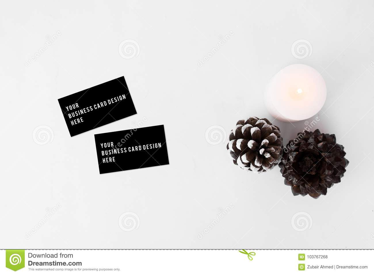 Business cards christmas composition stylish arrangement of cones download business cards christmas composition stylish arrangement of cones and candle on white background colourmoves