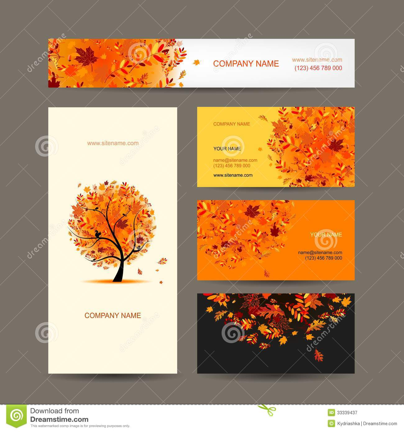 Business Cards Collection With Autumn Tree Design Stock Vector ...