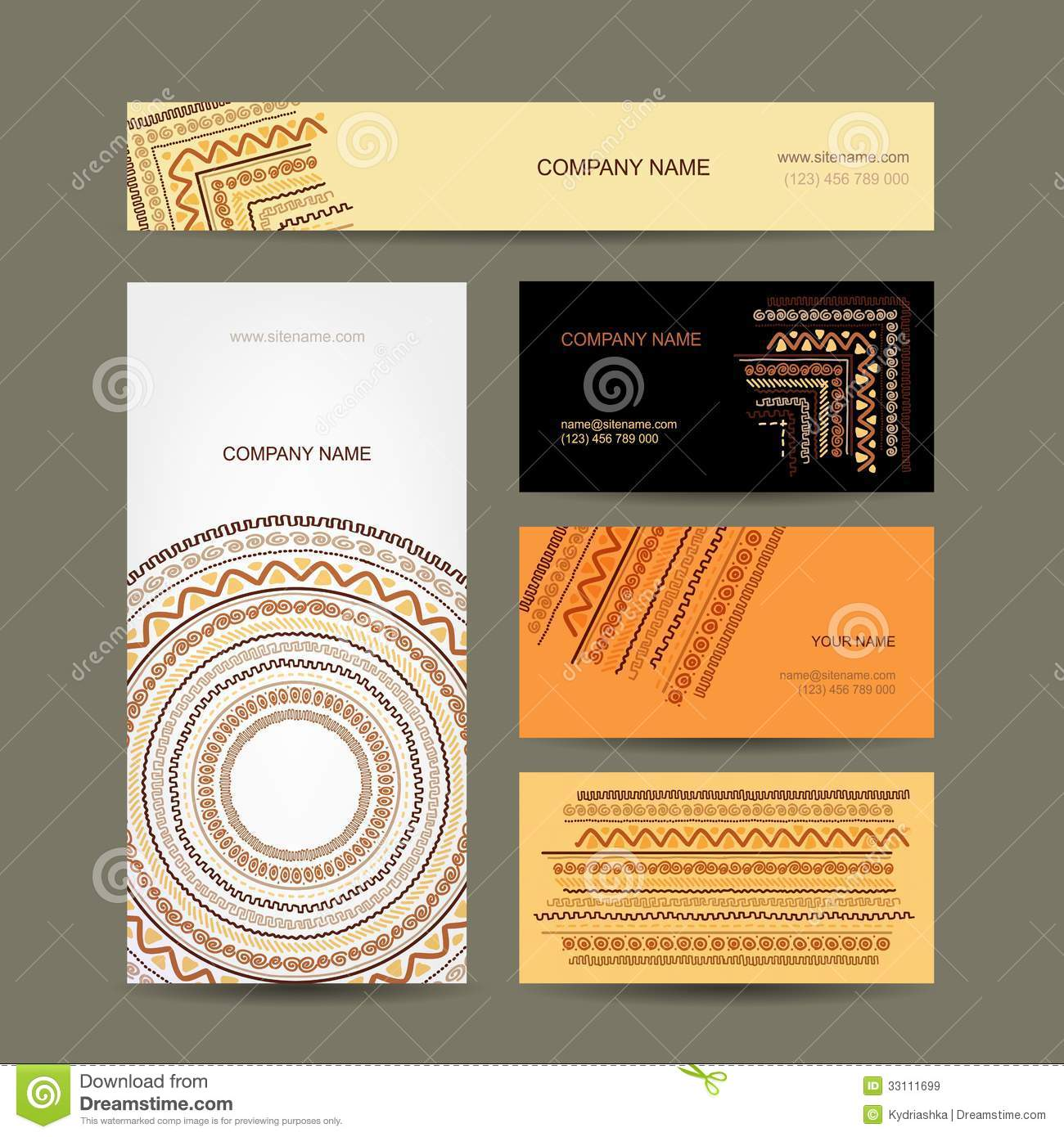 Business cards collection ethnic ornament for royalty for Business card collection