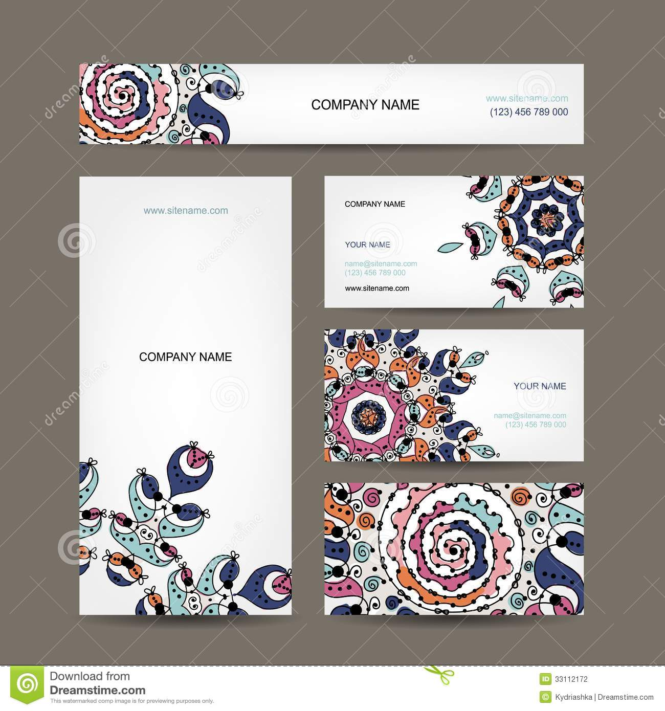 Business cards collection floral design stock photography for Business card collection
