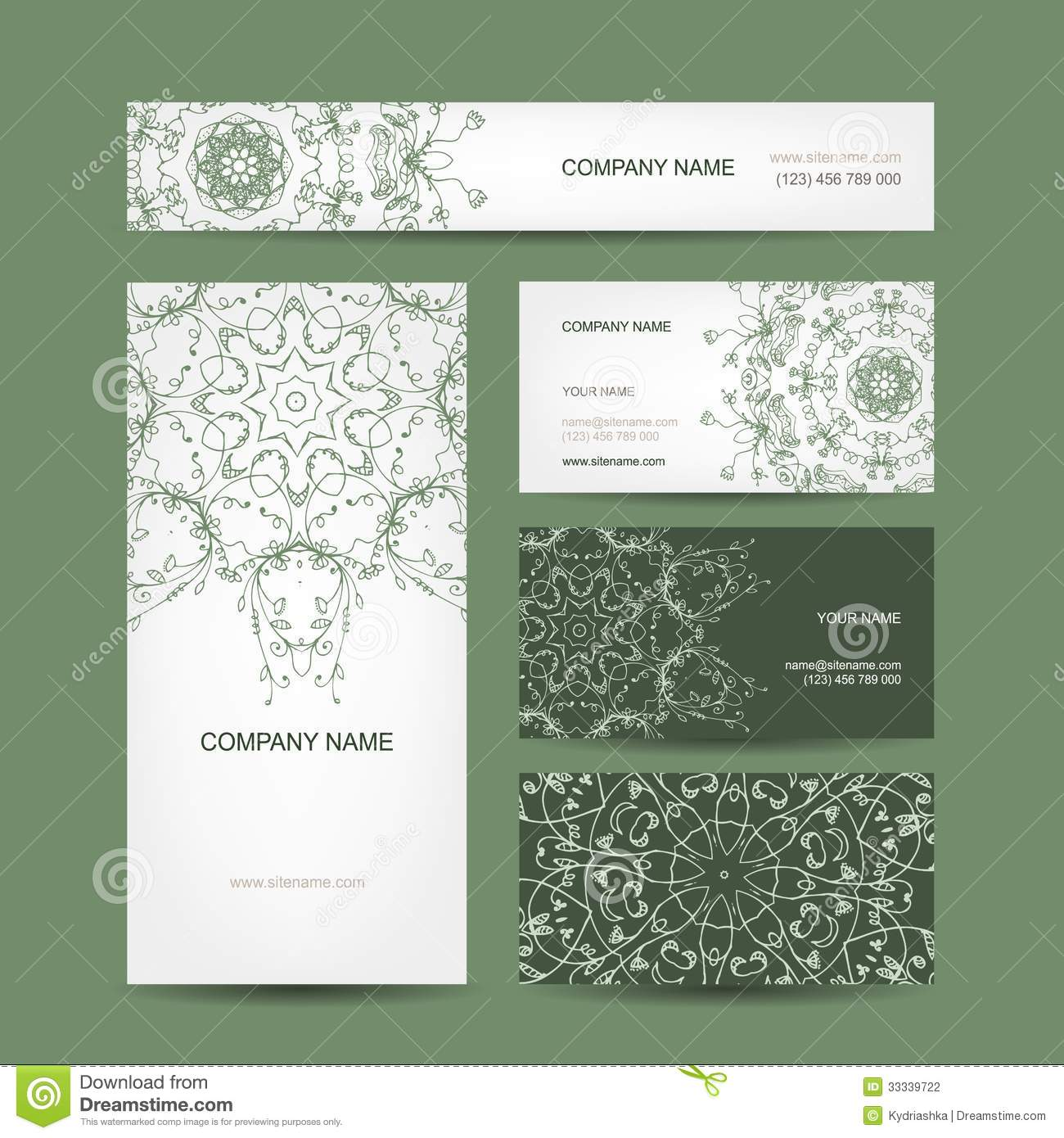Business Cards Collection, Floral Design Stock Vector ...