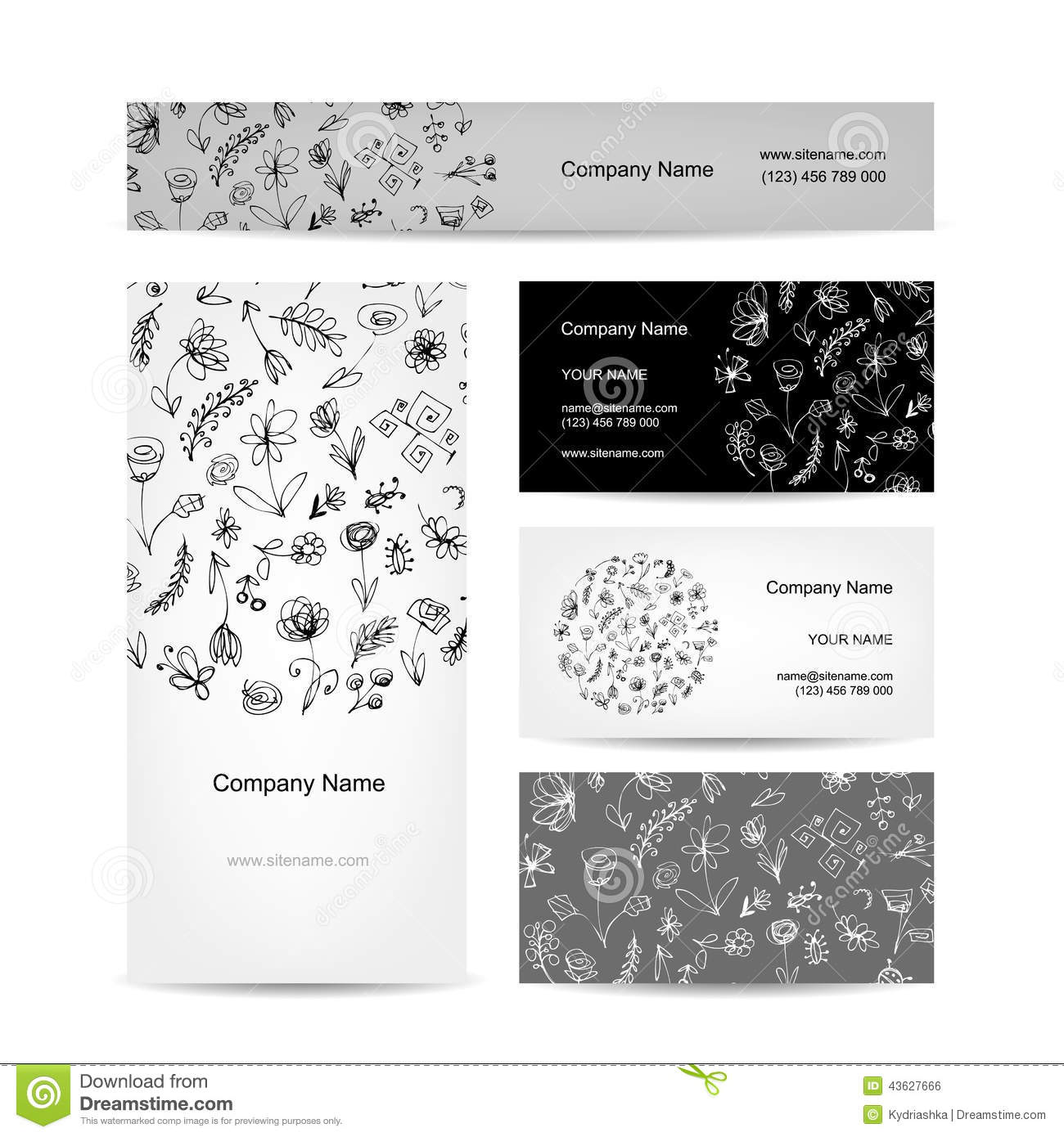 Business cards collection floral design cartoon vector for Business card collection