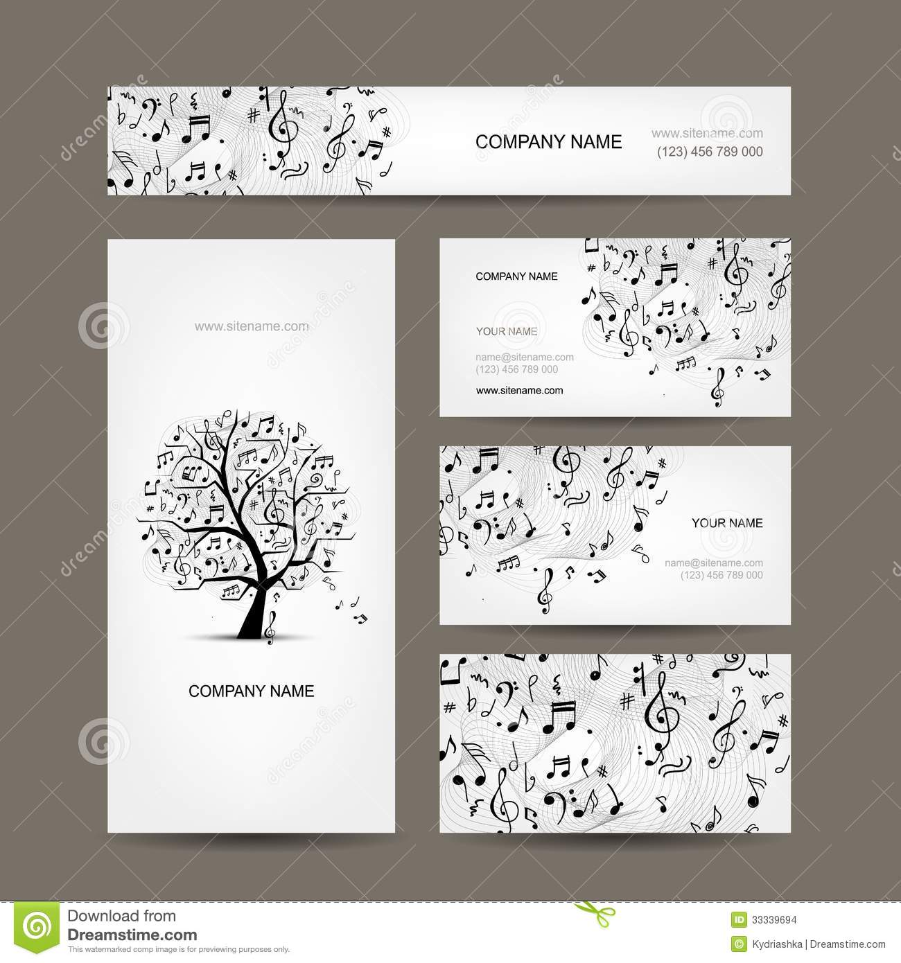 Business cards collection with music design stock vector image business cards collection with music design magicingreecefo Images