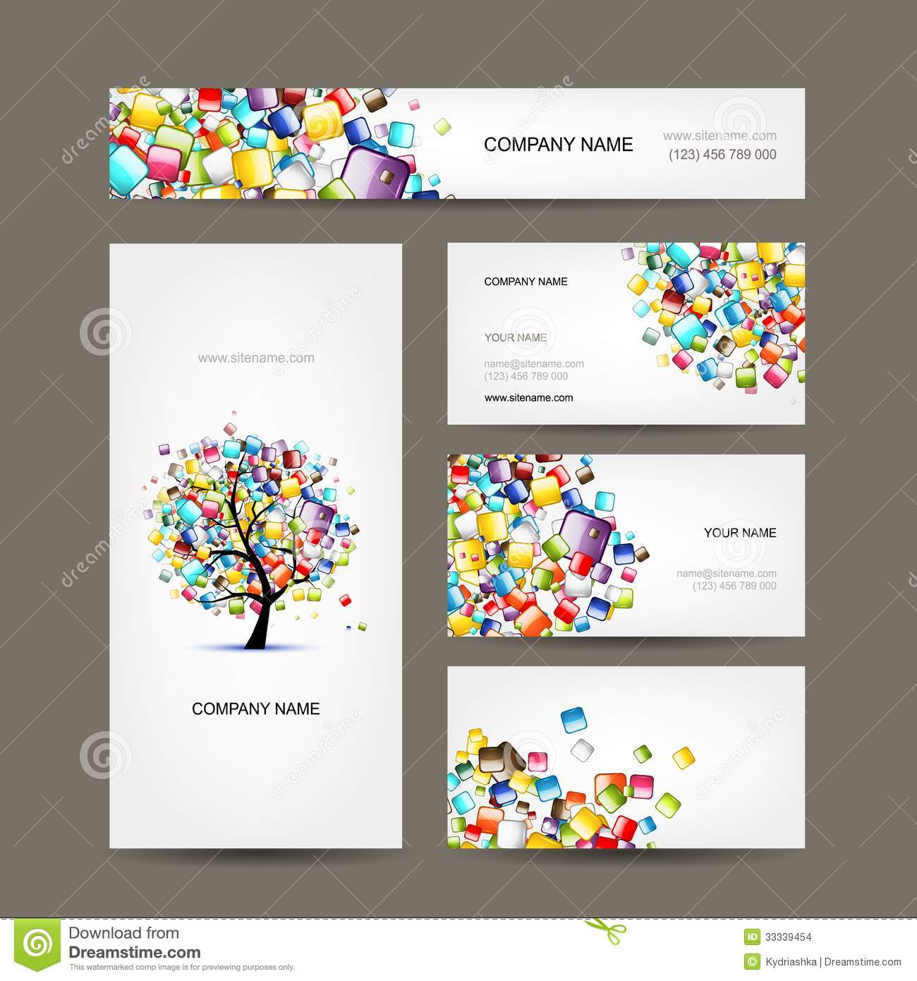 Business cards collection with web tree design stock vector business cards collection with web tree design reheart Gallery