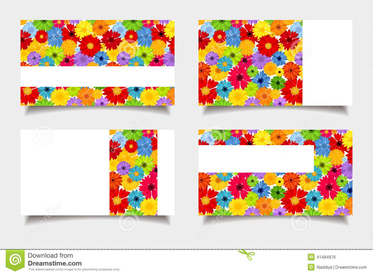 Business cards with colorful flowers. Vector illustration.