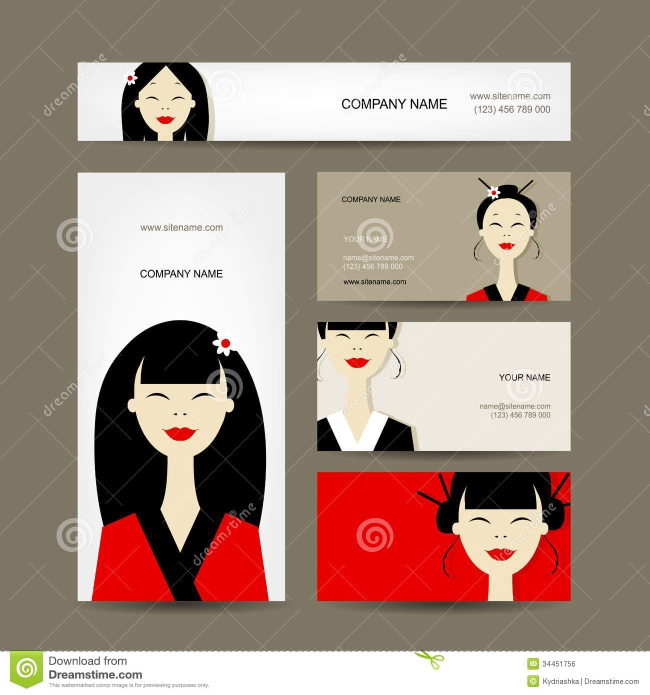 Business Cards Design With Asian Girls Stock Vector - Image: 34451756