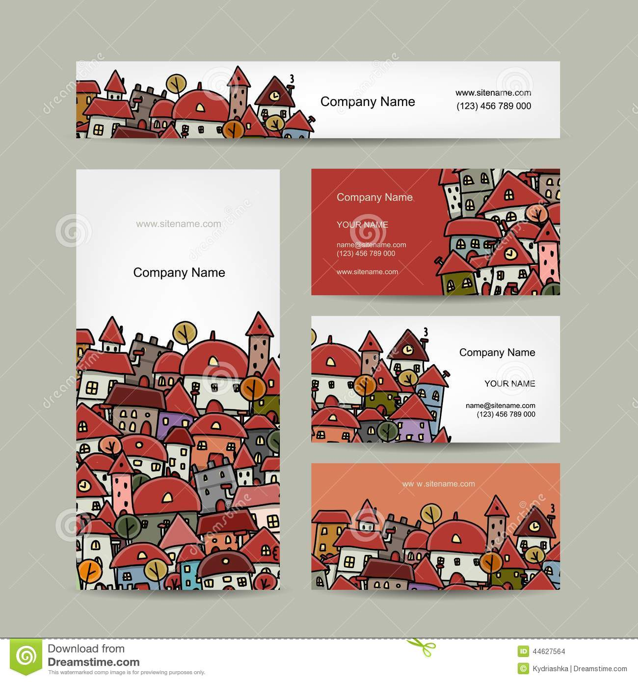 Business Cards Design, Cityscape Sketch Stock Vector - Illustration ...