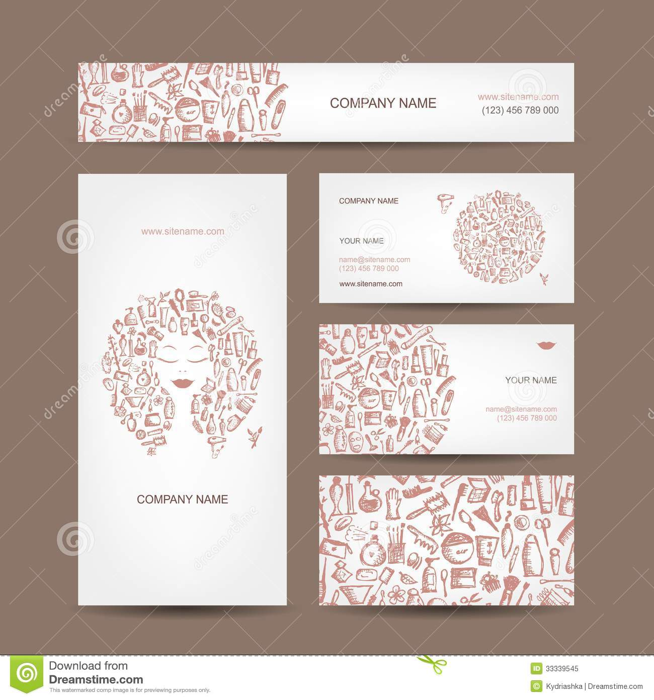 Business Cards Design, Cosmetics And Accessories Royalty Free Stock ...