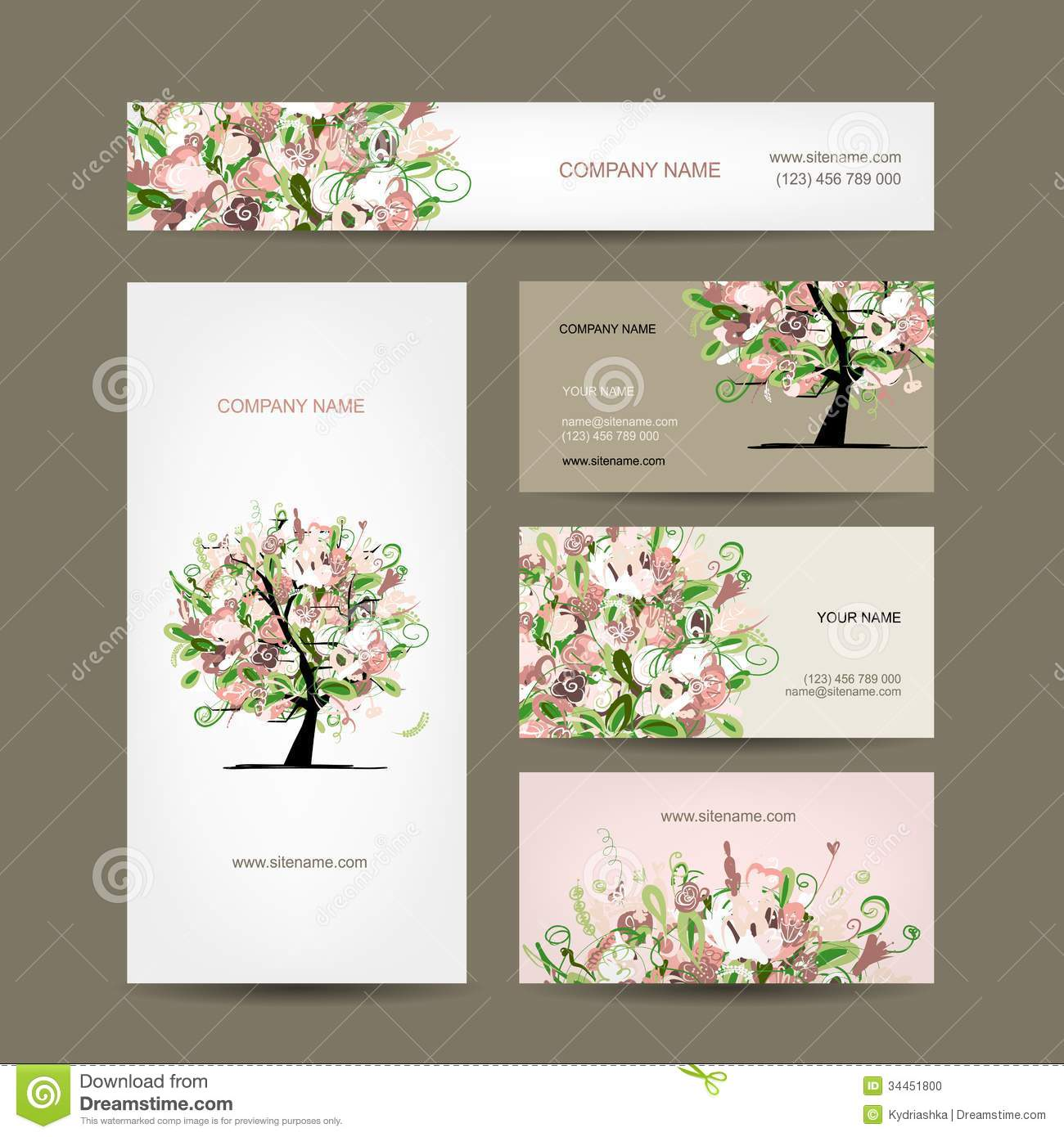 Business Cards Design With Floral Tree Sketch Stock Vector - Image ...
