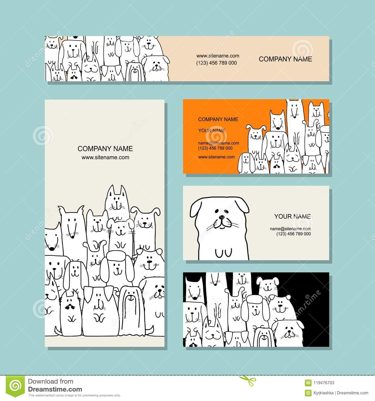 Business Cards Design, Funny Dogs Family Editorial Stock Photo ...