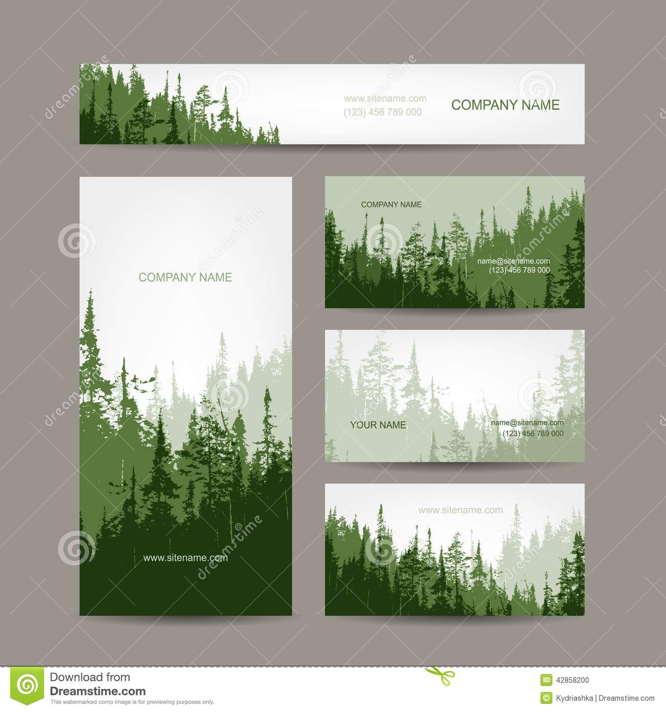 Business cards design with green forest background stock for Green design company