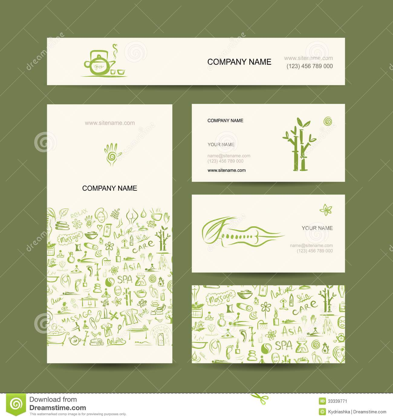 Business Cards Design, Massage And Spa Concept Stock Vector ...